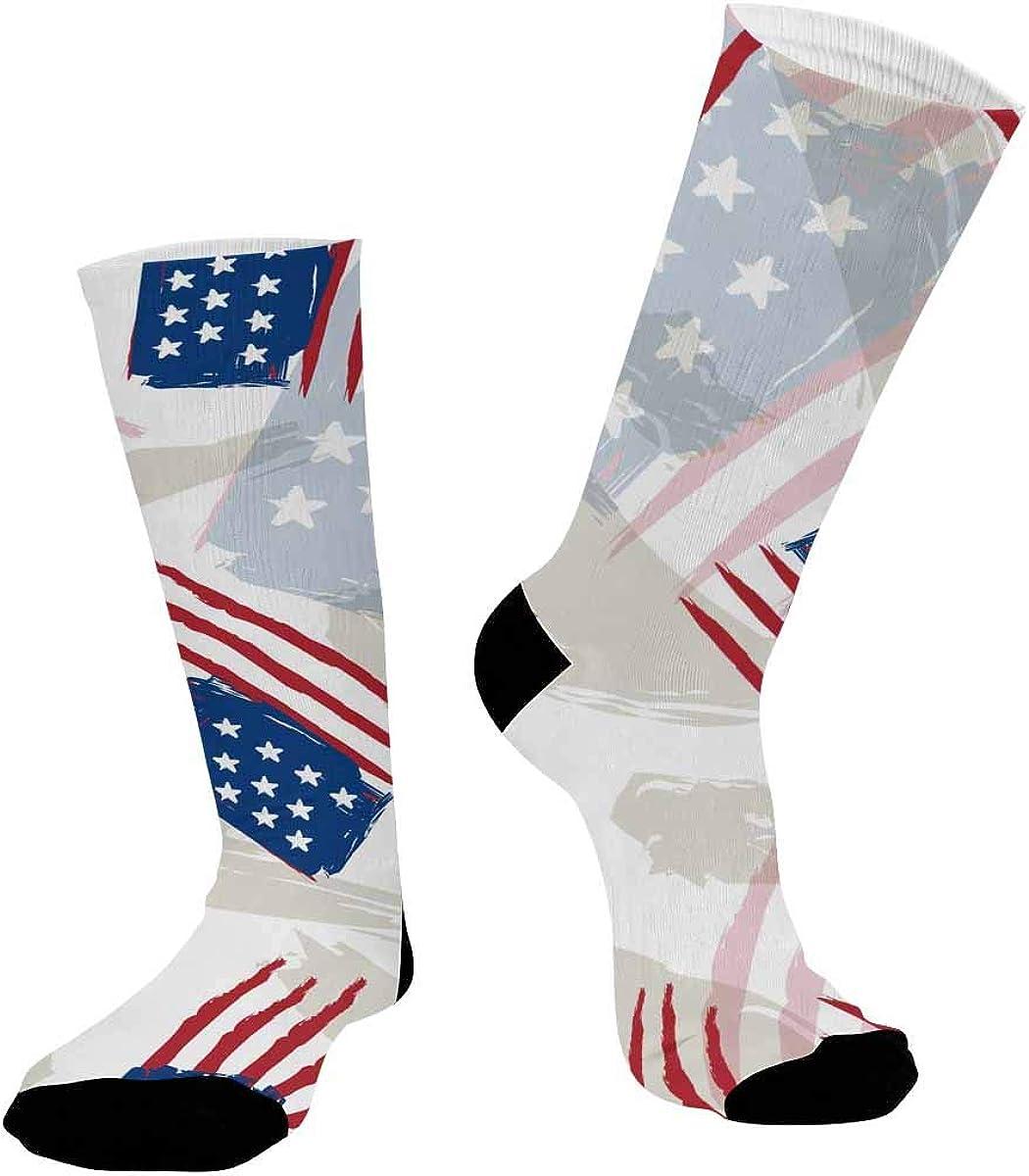 INTERESTPRINT Unisex Sublimated Athletic Crew Performance Socks USA Flags