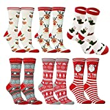 6pairs Ankle Cartoon Christmas Socks For Adults Santa Claus Holiday Cotton Blend
