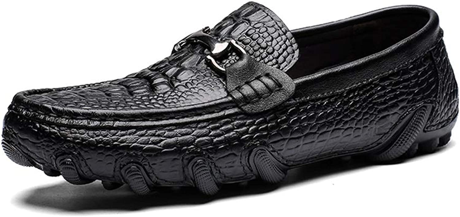 Easy Go Shopping Men's Soft shoes Genuine Leather Driving shoes Casual Classic Crocodile Print Penny Loafers Metal Anti-Slip Round Toe Slip On Cricket shoes