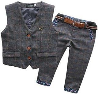 ツバメ---屋 ハンサム 子供服 男の子 ベビー服 フォーマル スーツ キッズ ボーイズ 縦縞 タキシード 発表会 七五三 カジュアル ベスト ズボン ベルト 3点 セット