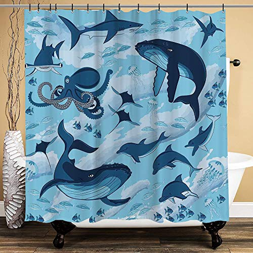 Oforp Cortina de Baño,Impermeable,Habitantes de Tiburones oceánicos Ballenas Delfines Pulpo Medusa Estrella de mar con Olas Imagen para baño,bañera, 150cmx180cm