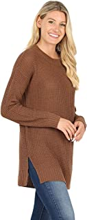 Sweaters for Women Long Sleeve Crewneck Pullover Waffle Knit Side Slit Loose Top