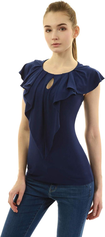 AmélieBoutik Women OFFicial store Ruffle Be super welcome Keyhole Sleeveless Blouse