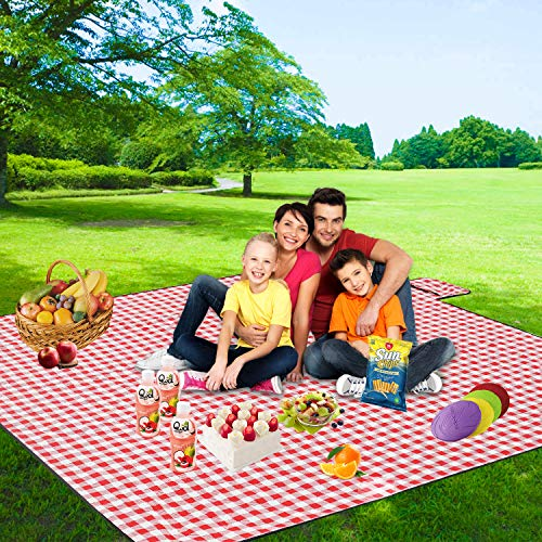 """FIDENACK Picnic Blankets Extra Large - 80"""" x 80"""" Lightweight Blanket -Thickened Upgrade Oversized XL Folding Waterproof Portable Mat for Outdoor Picnics, Camping-Red and White"""