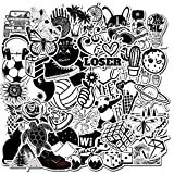 Black and White VSCO Stickers Pack(50PCS), No Repeat Removable Vinyl Stickers for Water Bottle, Skateboard, Tablet, Luggage, Phone, Notebook, Trendy Aesthetic Decal Sticker for Teens (Black and White)
