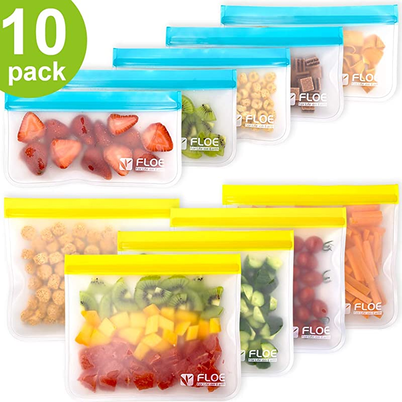 Reusable Storage Bags 10 Pack Leakproof Freezer Bag 5 Reusable Sandwich Bags 5 Reusable Snack Bags Eco BPA FREE Extra Thick Ziplock Lunch Bag For Food Storage Home Organization Travel Makeup