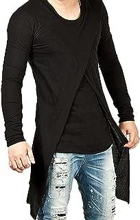 Men's Long Sleeves Black Asymmetrical Slit Shirt