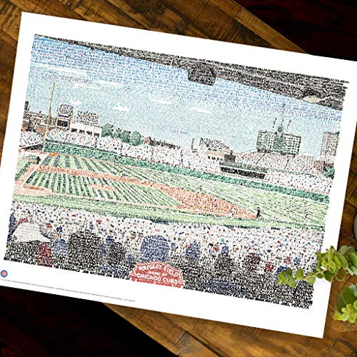 Wrigley Field Word Art - 16x20 Unframed - Handwritten with every Cub in history (1876-2016) - Cubs Gifts & Decor
