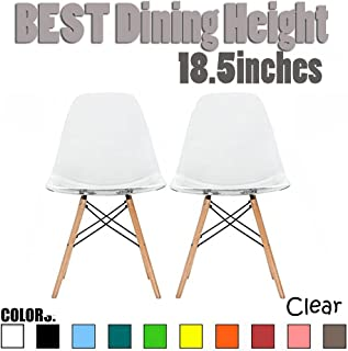 2xhome Set of 2 Clear Mid Century Modern Contemporary Vintage Molded Shell Designer Side Plastic Eiffel Chairs Wood Legs for Dining Room Living Office Conference DSW Desk Kitchen Comfortable