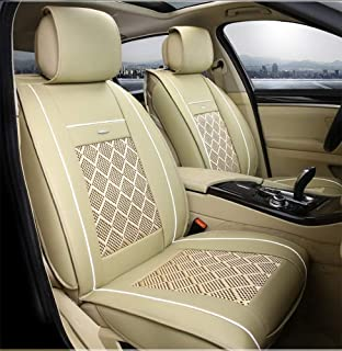 XZWYB for Volkswagen BMW E46 E60 E90 Audi A3 A4 B8 Ford Focus Fiat Skoda Rapid Ice Silk Car Seat Cover Leather Accessories Car Styling (Size : Beige)