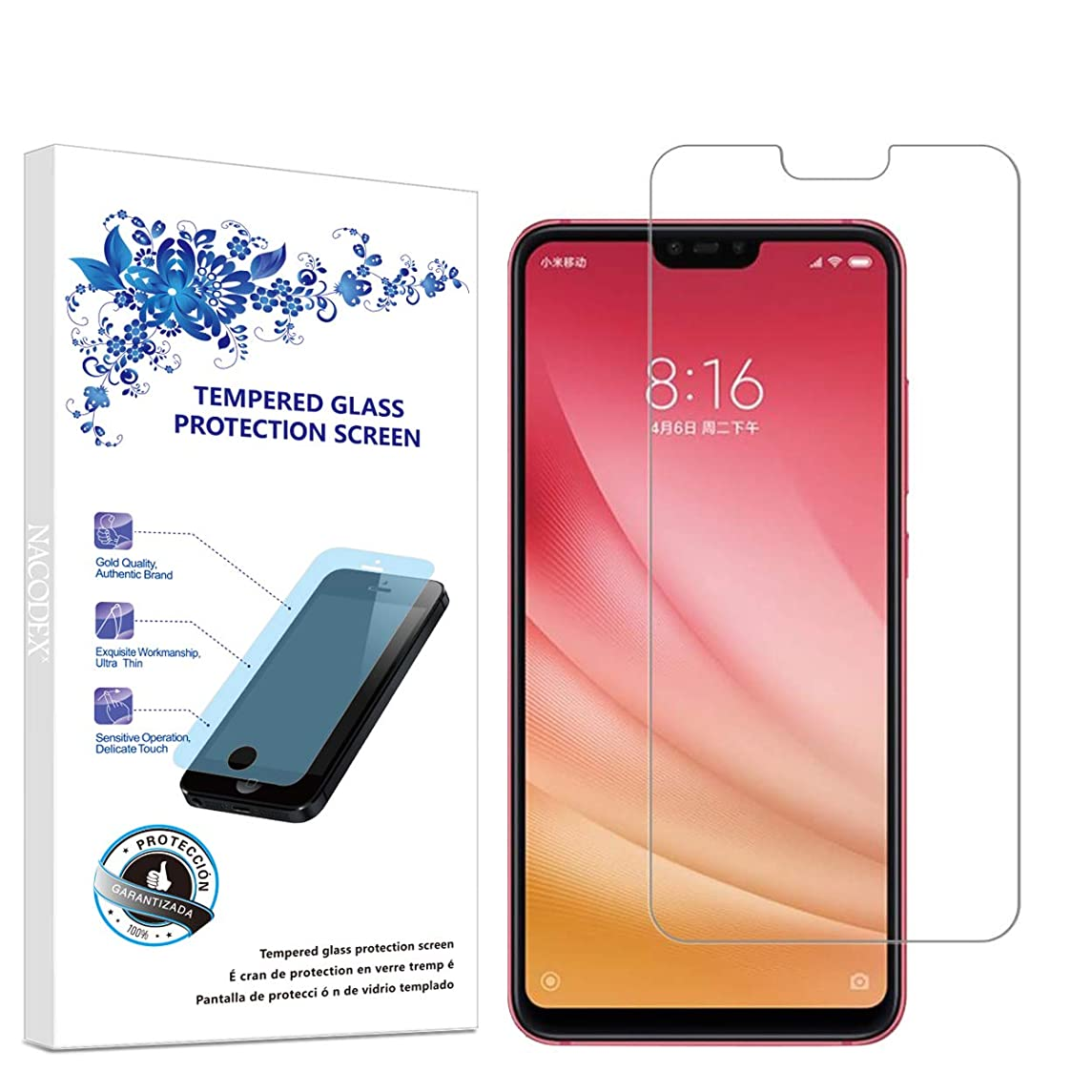 Screen Protector Compatible Xiaomi Mi 8 Lite, Tempered Glass Screen Protector for Xiaomi mi8 LITE Ultra Clear Scratch Resistant