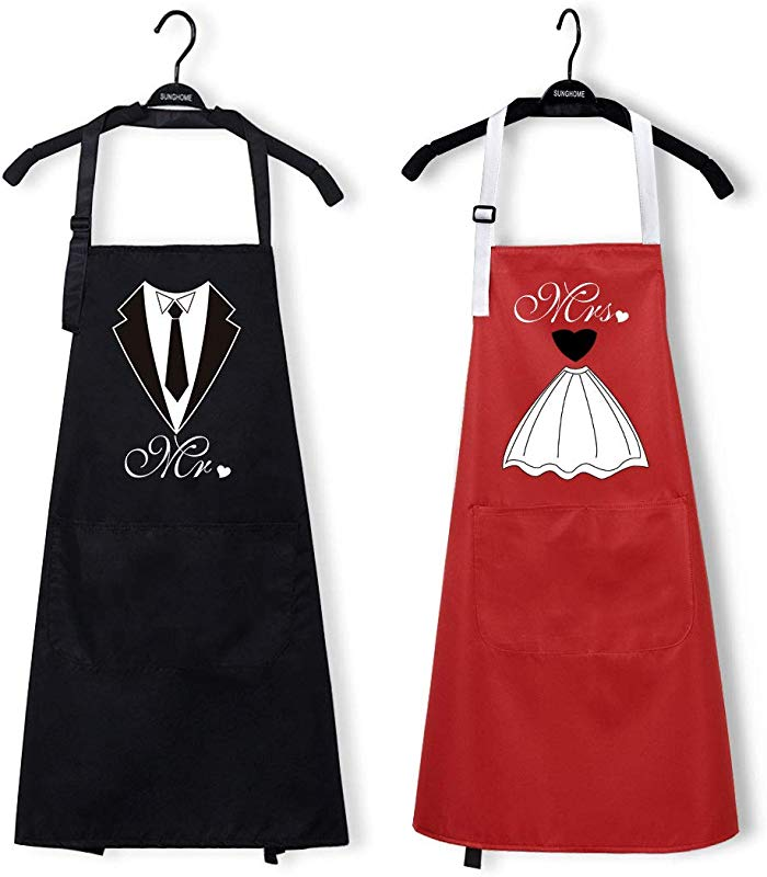 2Pcs Couple Kitchen Apron With Pocket Mr And Mrs Apron Tie Dress Women Men Apron Black Red Cooking Apron Waterproof Love Anniversary Apron For Bridal Weddings Gift Keep Clean