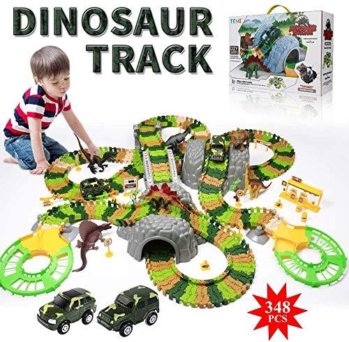 TEMI 348 PCS Dinosaur Race Track Toys Set w/ 6 Jurassic Dino Figures, 2 Electric Jeep Car, Educational Twisted Flexible Train Track Playset w/ Rockery Tree Arch Bridge for Kids, Boys & Girls Ages 3+