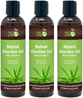 Aloe Vera Gel (8oz x 3 Pack) All Natural Ultra Hydrating Skin Cooling Aloe Gel, Non-Sticky Relief of Sunburns, Razor Burns, Bug Bites- Hair Conditioner & Gel- Cold Pressed, Made in USA