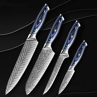 Couteau de cuisine Damas Couteau de chef professionnel Japon Sankotu Cleaver désosser Gyuto Couteau de cuisine Outil de cu...