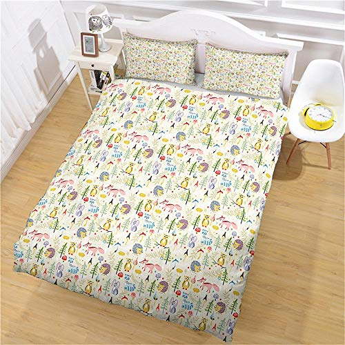 QNZOR Duvet Cover Sets Pillowcases Bedding Double Jungle animals Print Polyester Breathable 2 pillowcases with Zipper Boys Girls Home Decoration 78.74 x 78.74 inch