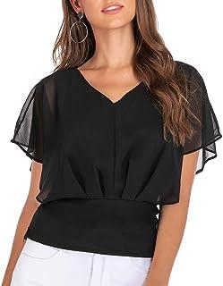 cutemom Women's T-shirt Women Casual Fashion V-Neck Solid Chiffon Short Sleeve Tops Blouse Sexy Elegant Vintage Top Shirt Fit Comfy Tunic
