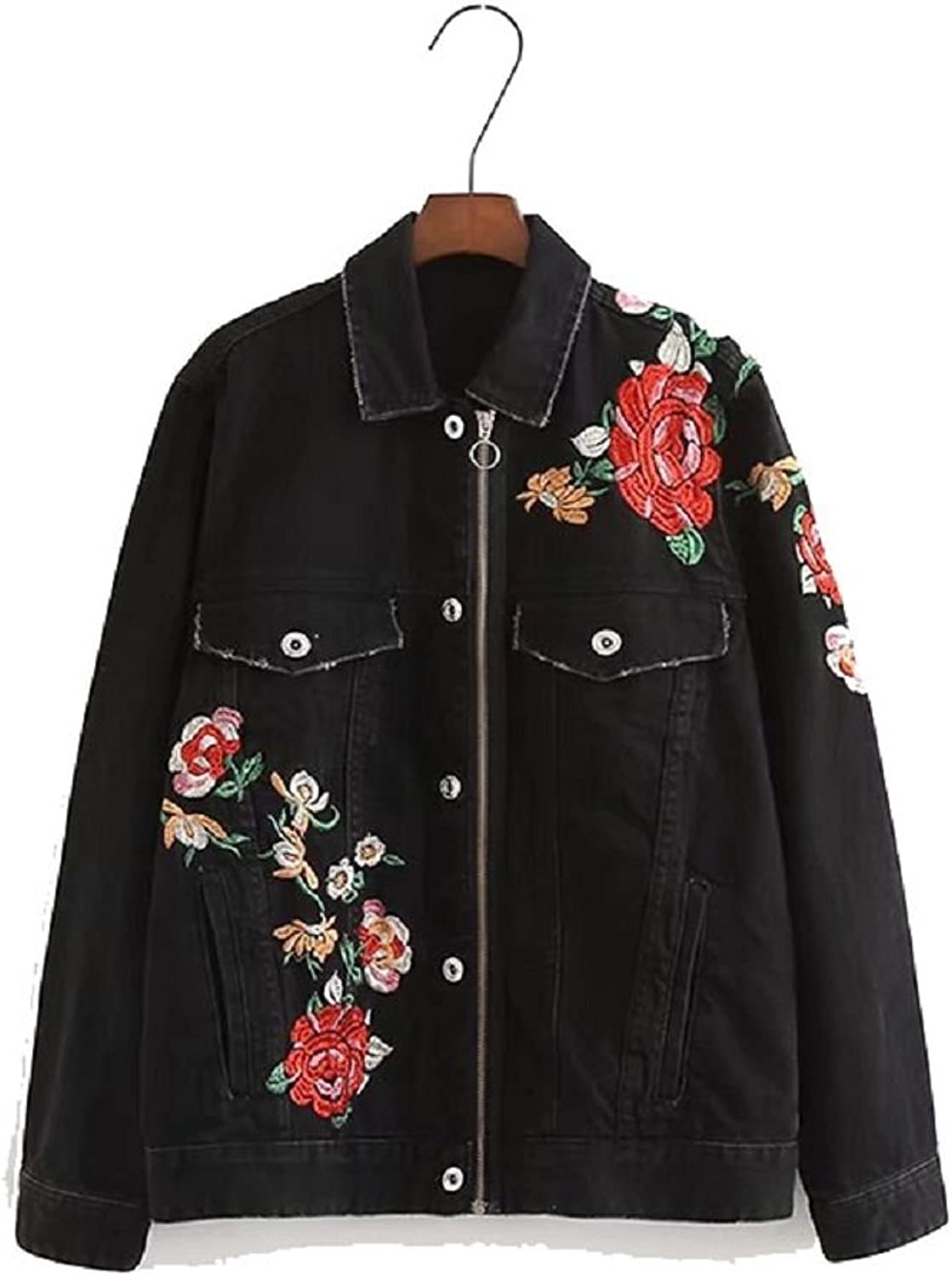 JudyBridal Womens Oversized Floral Embroidery Denim Jacket Coat with Pockets