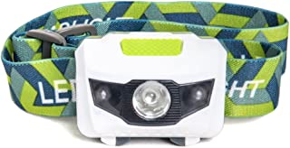 LED Headlamp Flashlight - Great for Camping, Hiking, Dog Walking, Kids, One of The Lightest (2.6 oz) White Cree Headlight, Water & Shock Resistant + Red Strobe, 3 AAA Batteries Included