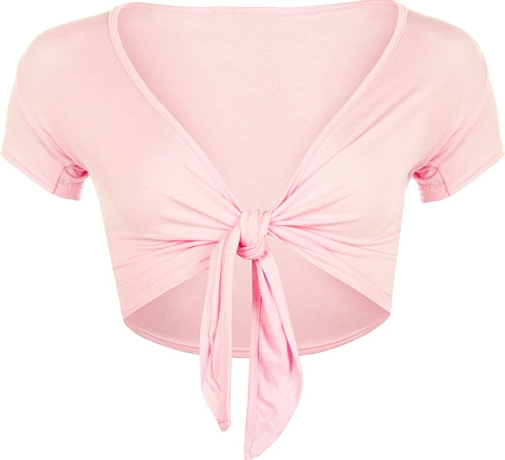 RM Fashions Women Short Sleeve Bolero Cardigan Crop Top Tie up Shrug Cosplay Shirt (Small-Large)