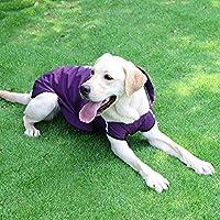 犬レインコート、反射ストライプのための高可視性の安全性、調節可能なフードポンチョのために小中大犬と防水軽量ジャケット収納可能 L