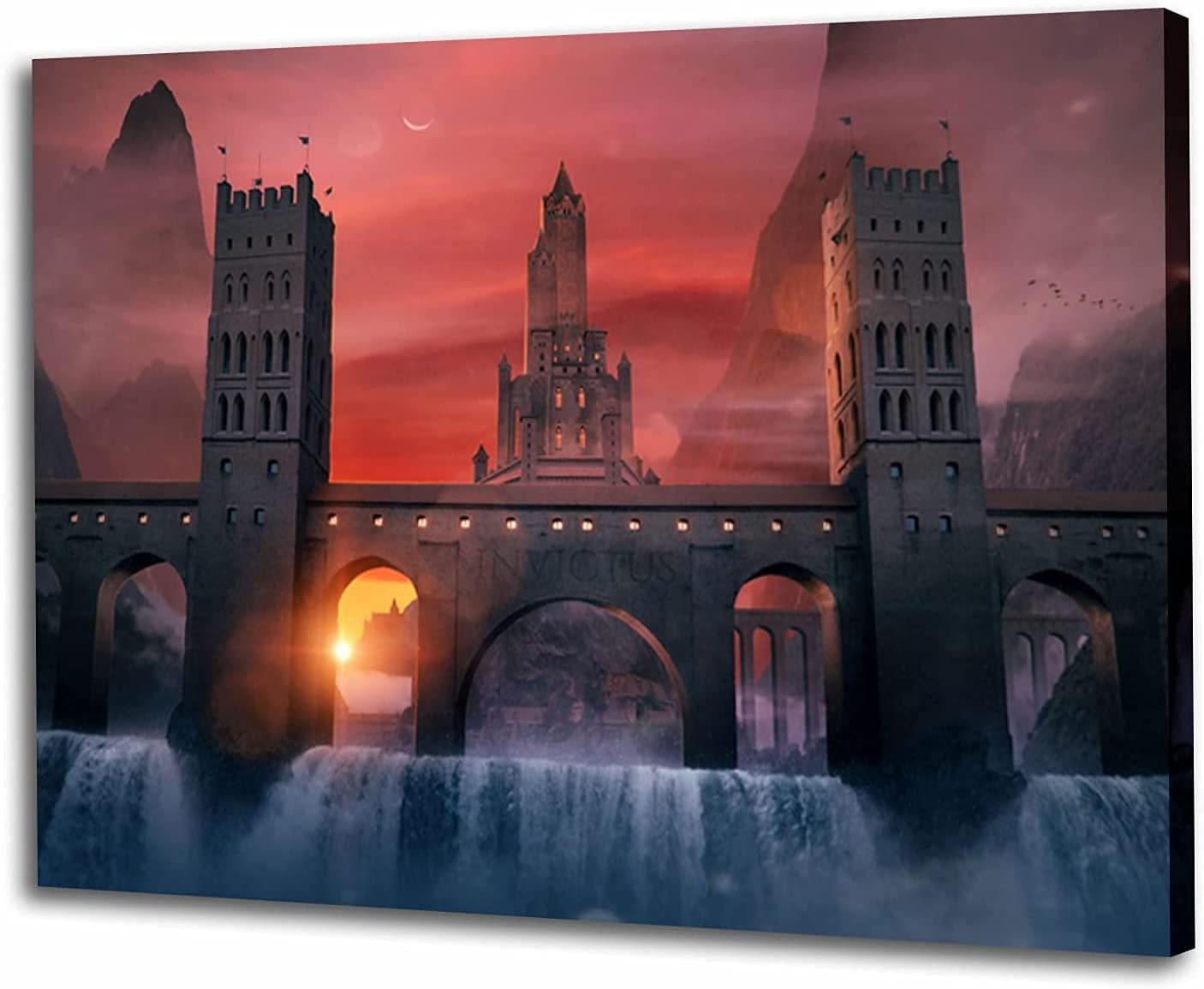 Sunset Castle Canvas Posters and Black Ranking TOP3 White Painting Outlet SALE Prints