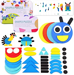 Wooden Pattern Blocks Jigsaw Puzzle Animal Geometric Shapes STEM Stacking Games Montessori Early Educational Toys for Toddlers Kids Boys Girls Age 2,3,4 Years 36 Shape Pieces 60 Design Cards B