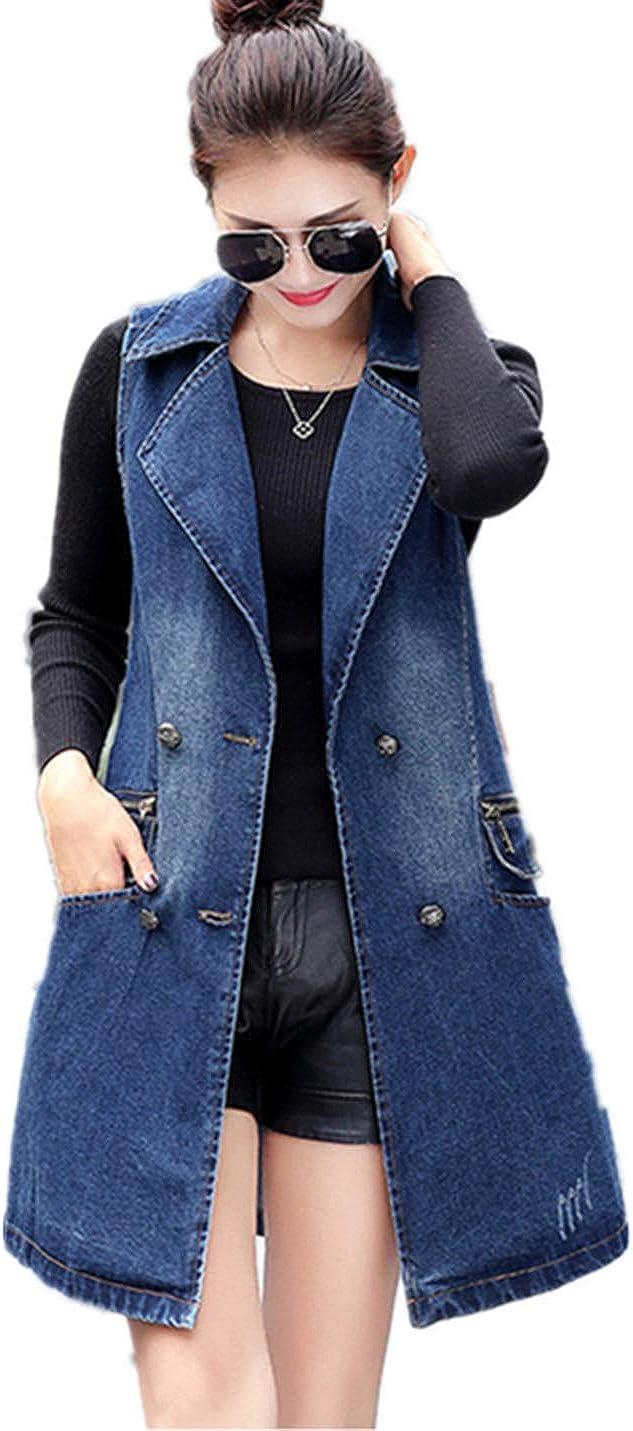 XTX Womens Classic Loose Sleeveless Button Long Jean Denim Vest