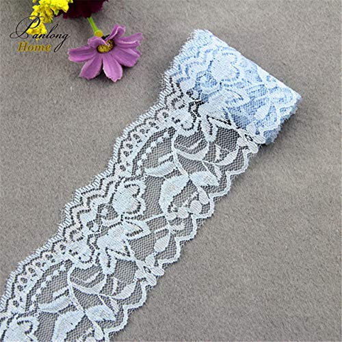 Lace Crafts - 5Yds 6cm Elastic Sewing Ribbon Stretch Lace Fabric Warp Knitting for DIY Garment Accessories - (Color: Light Blue)
