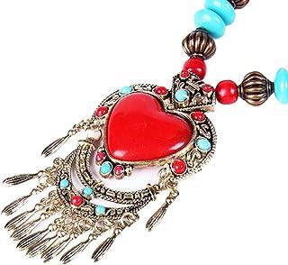 Redangel Vintage Chunky Love Heart Pendant Collar Necklace for Women and Girls Fashion Bohemian Statement Bib Costume Gift...
