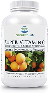 Nature's Lab Super Vitamin C - 1000mg as Calcium Ascorbate - 120 Count (60 Day Supply) Gentle, Non Acidic 200mg Quercetin ...