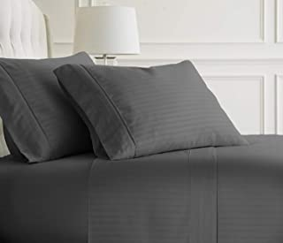 King Size Sheets Luxury Soft 100% Egyptian Cotton Sheet Set for King Size (76x80) Mattress Dark Grey Color 550 Thread Count Deep Pocket Fits 14-16 Inches (Pattern : Stripe)