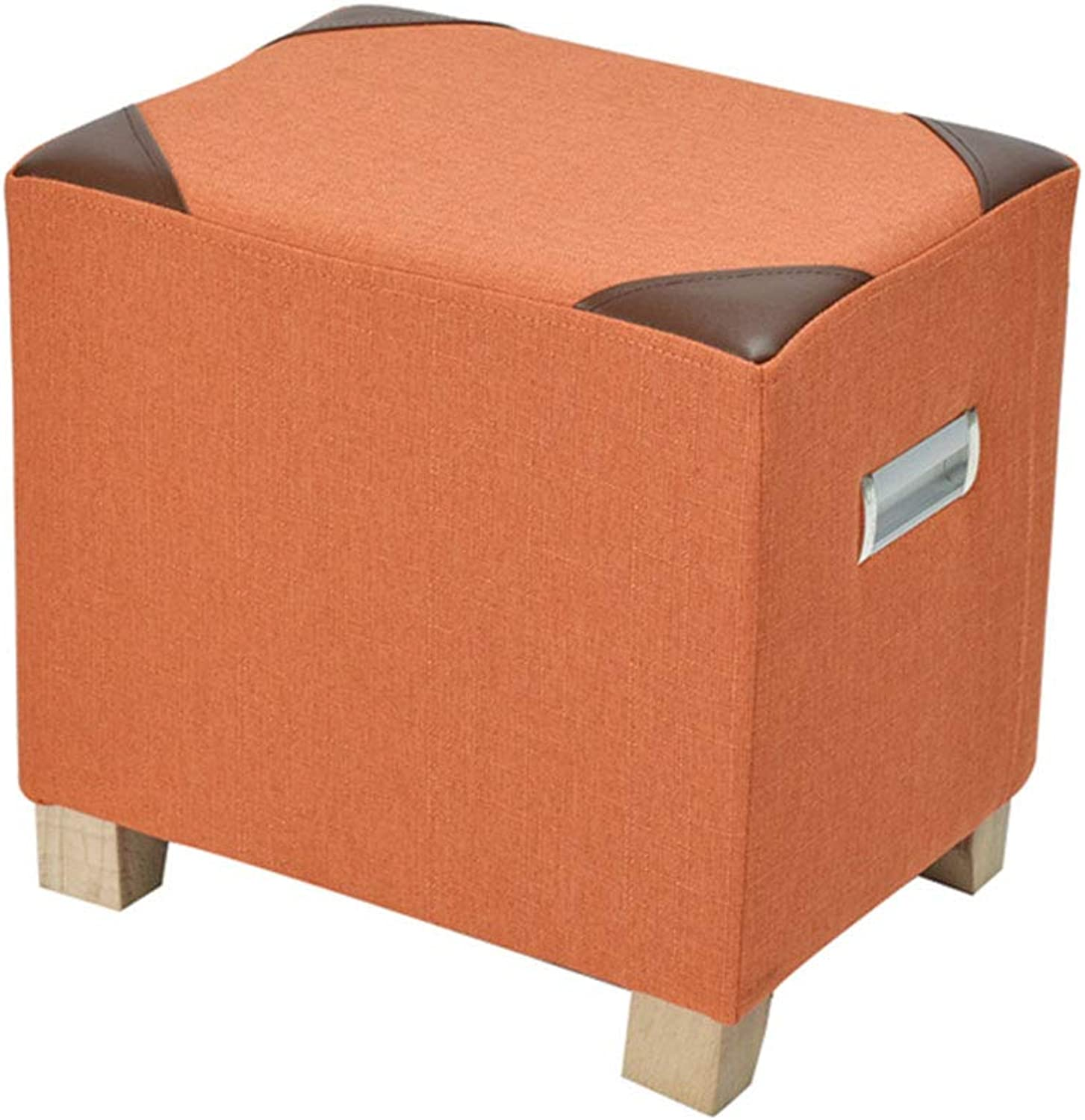 Sofa Stool Change shoes Stool Linen Simple Multifunctional Coffee Table Stool Makeup Stool (color   orange)