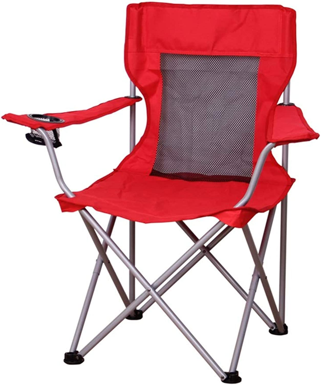 Lounge Chairs Folding Chair Sports Chair Recliner Zero Gravity Portable Camping Beach Fishing Garden Picnic Cup Holder Bearing Weight 100kg, Red + Mesh