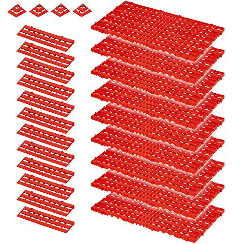 25-teiliges Set, 3,4 m² Bodenrost, rot, aus strapazierfähigem, lebensmittelechten PE-HD Kunststoff