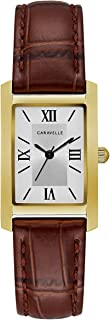 Caravelle Women's Stainless Steel Quartz Watch with Leather Calfskin Strap, Brown, 16 (Model: 44L234)