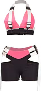 Women's Sexy 2 Piece Buckle Outfit Crop Top Bodycon Hollow Out Shorts Clubwear Tracksuit Set