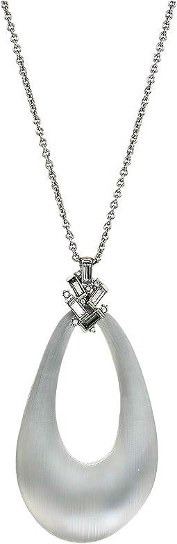 Scattered Crystal Baguette Long Link Pendant Necklace