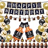 YXNCLB Whisky Birthday Party Supplies Kit,Whisky Party Decoration Kit,Whisky Balloon Decorations Set,Aged to Perfection Birthday Party Garland, Gold & Black Balloons to Perfection Party Supplies