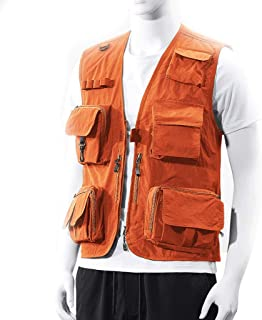 Men's vest Fishing vest Outdoor vest Thin vest Men's Quick-Drying vest (Color : Orange, Size : L)