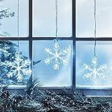 Battery Operated Cool White LED Acrylic Snowflake Hanging Christmas Window Light...