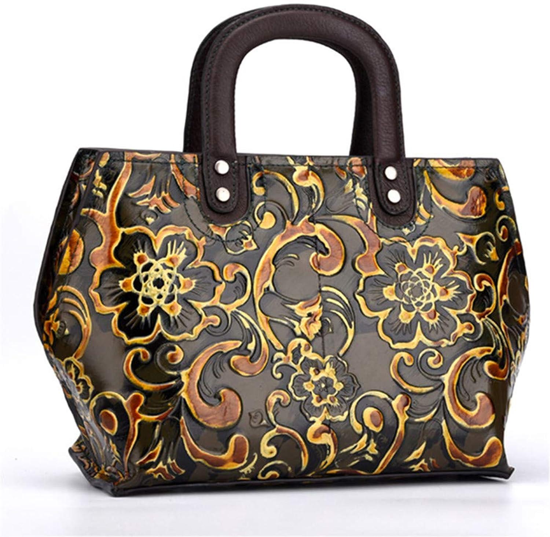 Cowhide Top Handle Bag Embossed Cross Body Tote Purse Vintage Leisure Women Genuine Leather Handbag Messenger Shoulder Bags Retro Coffee