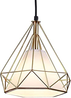 Berliget Freely Adjustable Cord Rose Gold Industrial Metal Hanging Lamp Pendant Light with White Fabric Lampshade, Pendant Lighting for Living Room, Bedroom, Kitchen, Dining Room