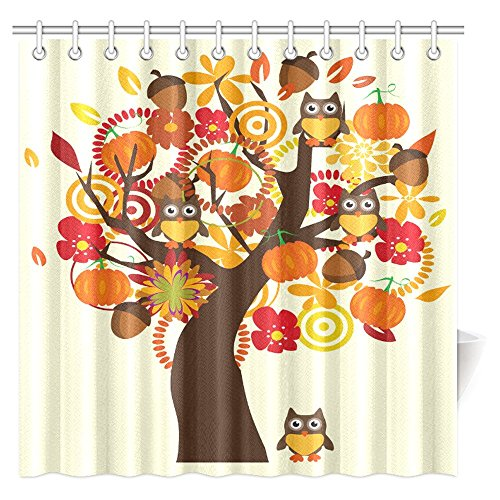 Autumn Tree and Flowers with Owls on Vintage Art Fabric Shower Curtain