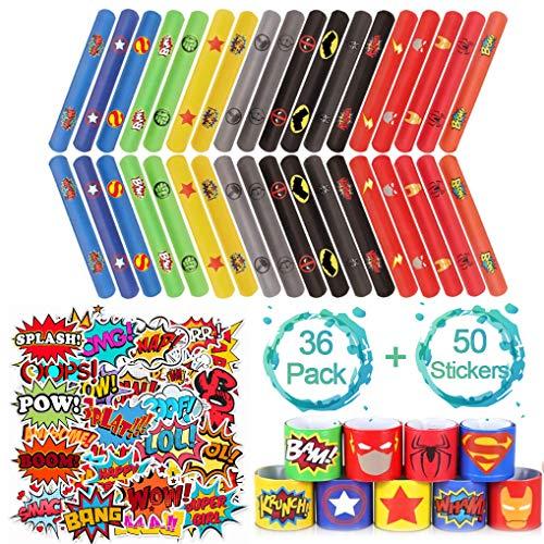 Yidaxing 86 Pezzi Superhero Braccialetti Slap + Cartoon Party Stickers Superhero Slap Bracelets Gadget Bracciali a Scatto per Regalo per Bambini, Ragazze e Ragazzi