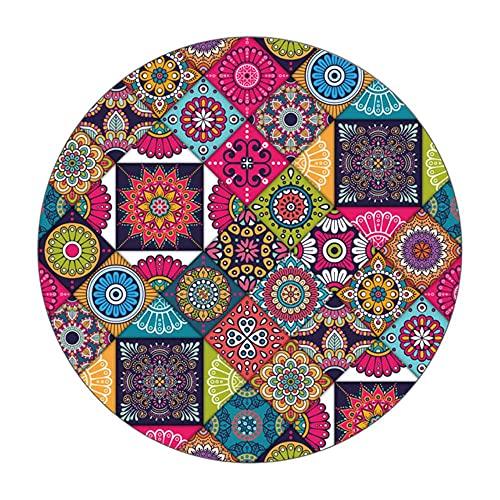 Tappeti Decorativi Antiscivolo Stile Mandala Motivo Floreale Colorato Tappeto Tappetini Soggiorno Bagno Cucina Camera Da Letto Tappeto-1,Diametro60cm