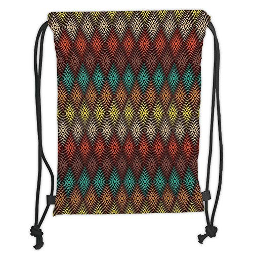 Drawstring Backpacks Bags,Geometric,Tribal Primitive Abstract Folk Dots Forming Diamond Forms Ethnic Artsy Pattern,Multicolor Soft Satin,5 Liter Capacity,Adjustable String Closure,