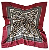 Vabovin Women's 35' Satin Square Silk Like Hair Scarves and Wraps Headscarf for Sleeping (Leopard Dark Red)