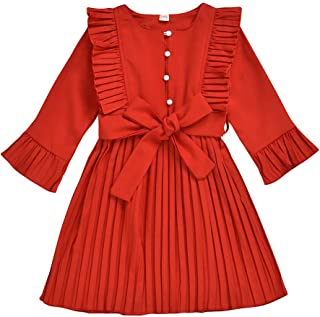 Sumeier Ruffle Striped Solid Princess Dress Casual Clothes for Toddler Kids Baby Girls 1-6Y