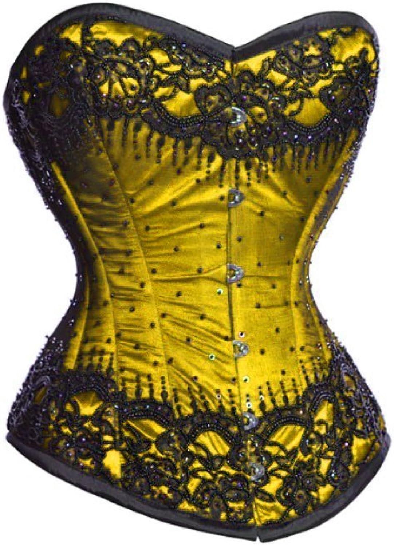 Yellow Satin Black Sequins Gothic Plus Size Bustier Waist Shaper Overbust Corset
